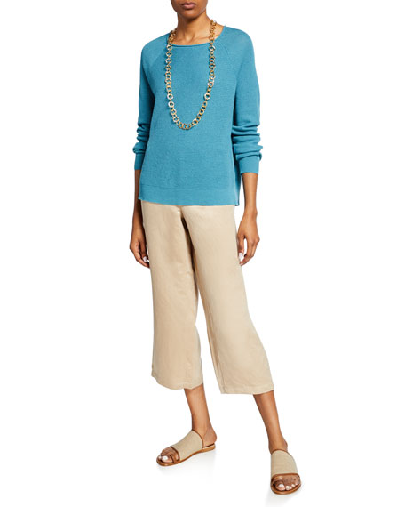 Image 3 of 3: Eileen Fisher Linen/Silk Wide-Leg Crop Pants
