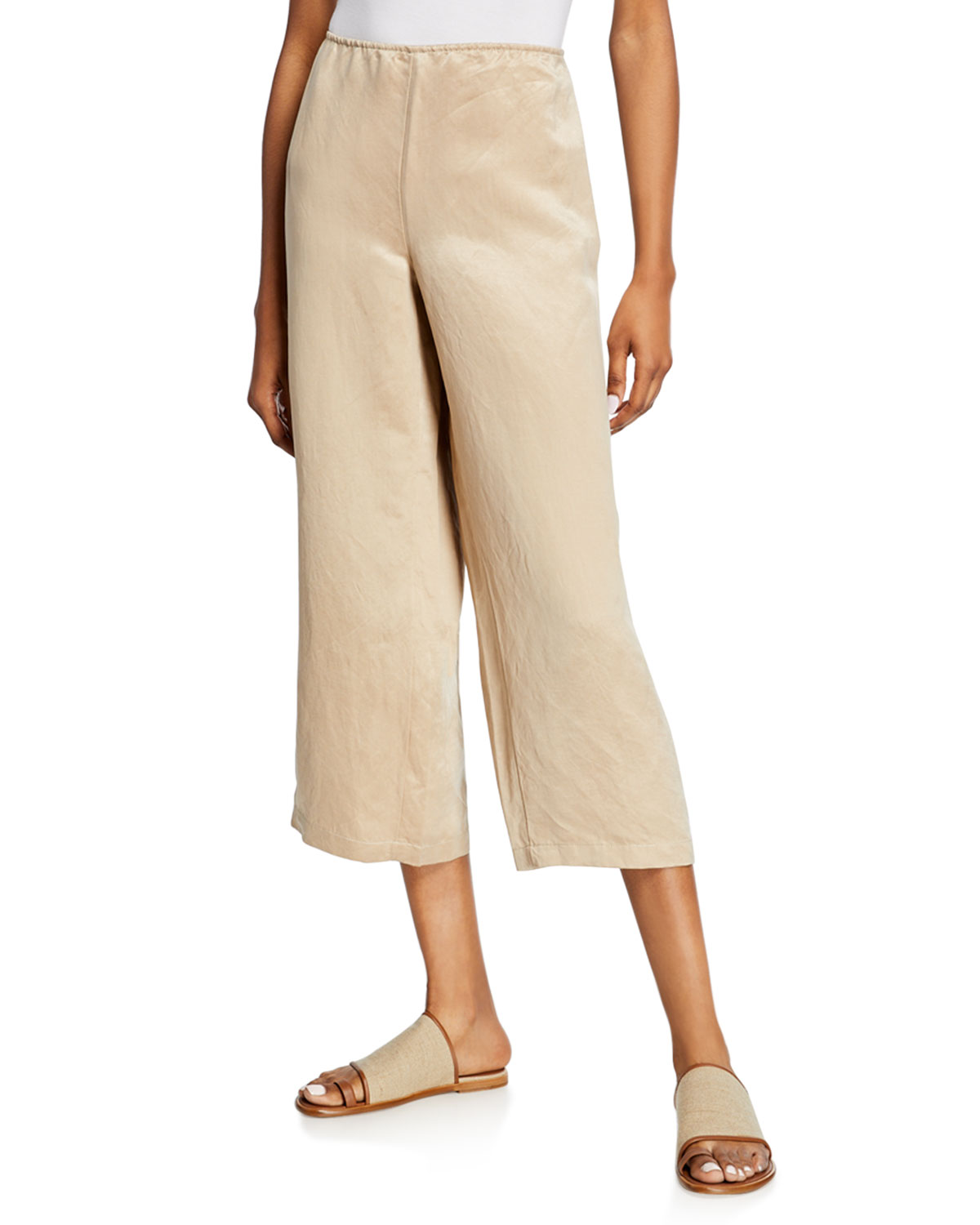 Eileen Fisher Linen/Silk Wide-Leg Crop Pants