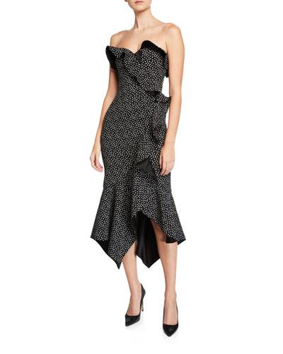 Speckle-Print Bustier Ruffle Dress
