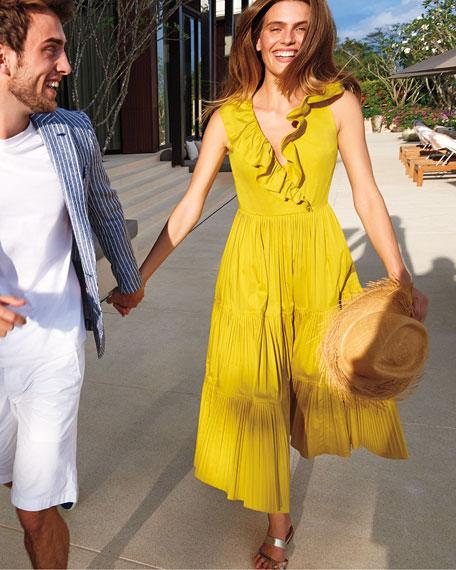 kate spade new york v-neck sleeveless ruffle tiered poplin dress