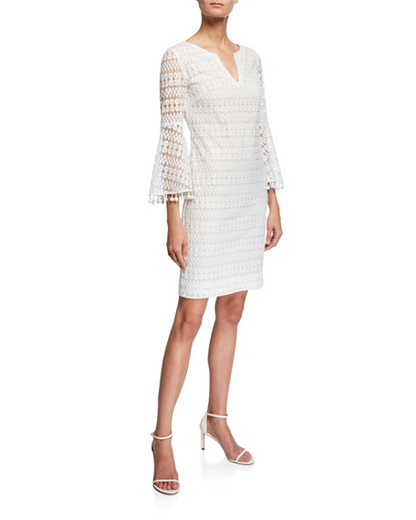 Trina Turk Loomis Bell-Sleeve Momento Embroidered Lace Dress