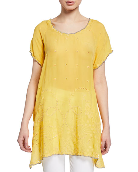 Johnny Was Caleb Eyelet and Embroidered Top