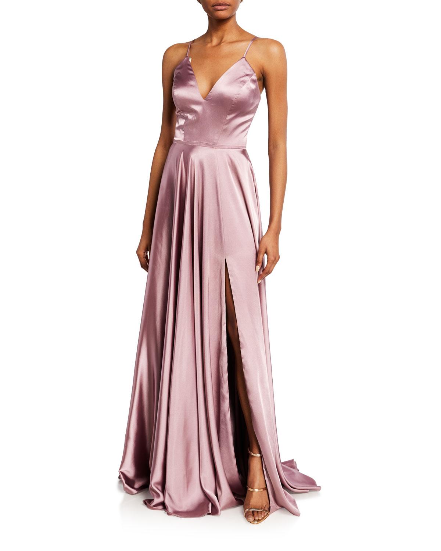 Faviana Charm V-Neck Sleeveless Full Skirt Satin Gown w/ Lace-Up Back