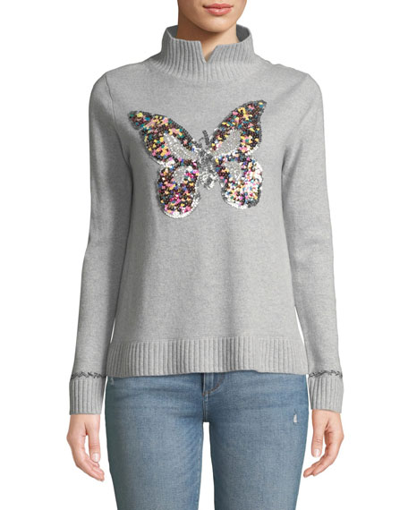 Lisa Todd Plus Size Sequin Butterfly Turtleneck Cashmere Sweater