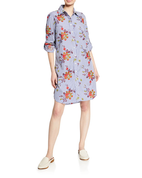Finley Alex Striped Autumn Floral-Printed Button-Down Long-Sleeve Shirtdress