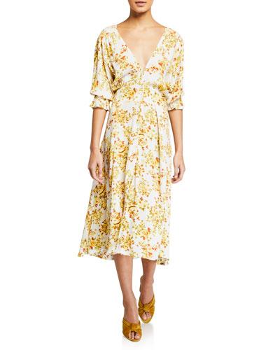 Rafa Floral-Print Button-Front Puff-Sleeve Midi Dress