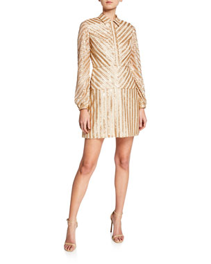 2104dbbd3 Aidan by Aidan Mattox Sequin Stripe Long-Sleeve Cocktail Dress