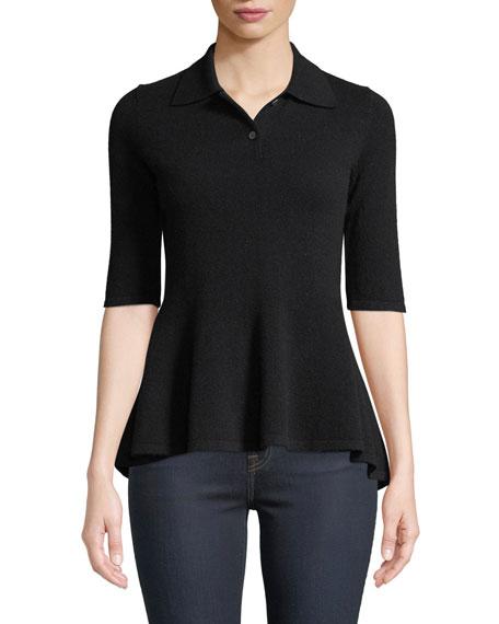 Neiman Marcus Cashmere Collection Elbow-Sleeve Cashmere Peplum Polo Shirt