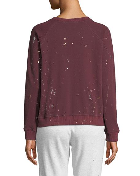 Monrow Vintage Raglan Pullover Sweater with Foil Splatter
