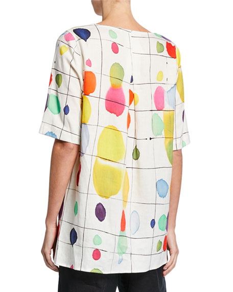 Caroline Rose Plus Size Paint Box Printed Elbow-Sleeve Linen Tunic