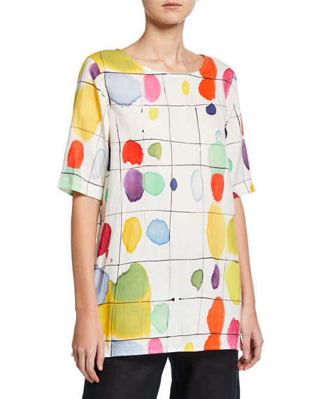 Image 1 of 4: Plus Size Paint Box Printed Elbow-Sleeve Linen Tunic
