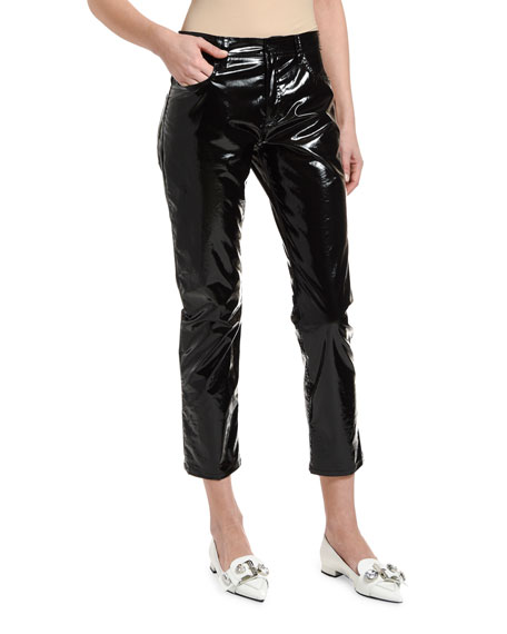 No. 21 Vinyl-Effect Five-Pocket Cropped Jeans