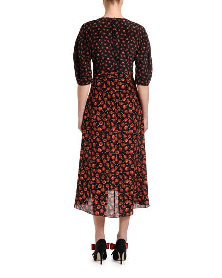 No. 21 Printed Half-Sleeve Silk Midi Dress
