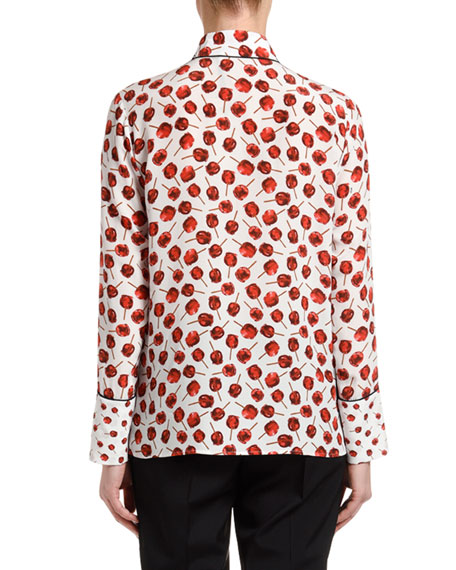 Image 2 of 2: Printed Long-Sleeve Blouse with Embellished Collar