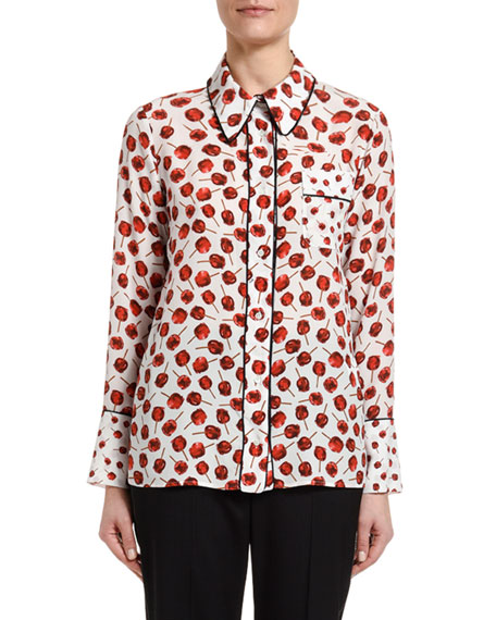 Image 1 of 2: Printed Long-Sleeve Blouse with Embellished Collar