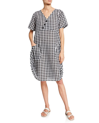 Short-Sleeve Gingham Cocoon Dress w/ Pockets & Button Detail