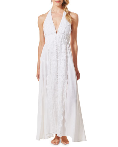Voyage Cotton Halter Maxi Dress with Lace