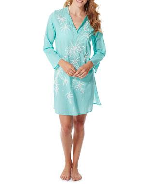 f15cf28e78a Flora Bella Estrella Long-Sleeve Cotton Voile Tunic w/ Beaded Embroidery