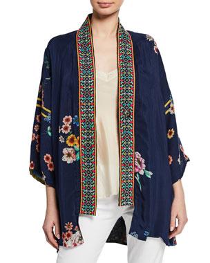 55b11fee753 Johnny Was Plus Size Maci Floral Georgette Reversible Kimono w/ Embroidered  Trim