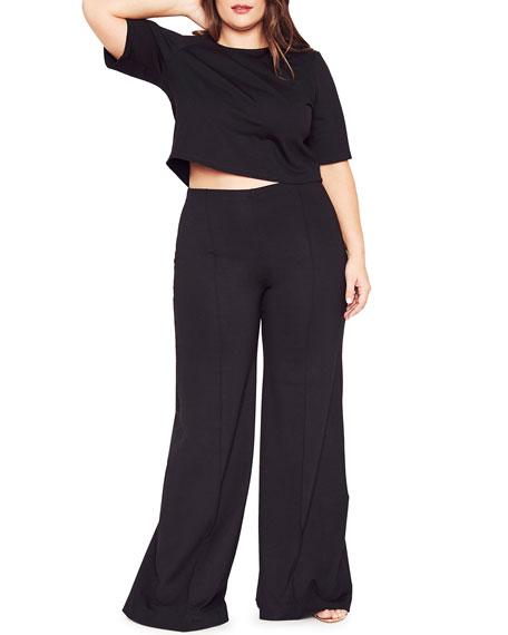 Ripley Rader Plus Size Short-Sleeve Cropped Ponte T-Shirt
