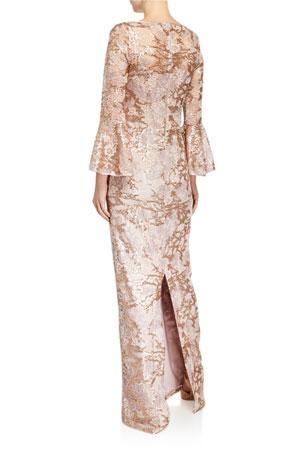Ladies Peach Square Spot Crepe Long Nightdress Sizes 10-20
