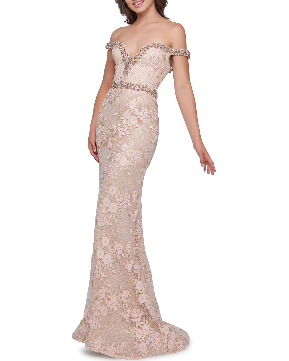 Off The Shoulder Beaded Trim Lace & Floral Embroidered Trumpet Gown by Mac Duggal
