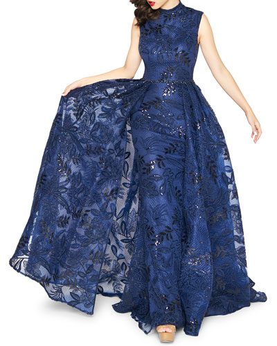 High-Neck Sleeveless Novelty Fabric Column Gown w/ Overskirt