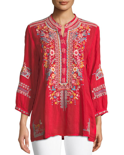 Petite Bethanie 3/4-Sleeve Embroidered Tunic