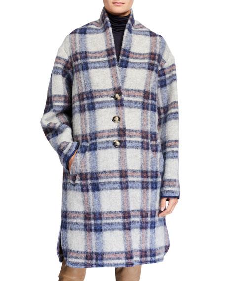 Etoile Isabel Marant Gabriel Plaid Wool Long Coat