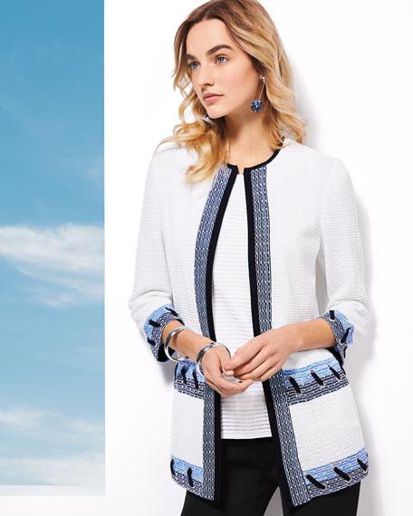 Misook Petite Textured 3/4-Sleeve Jacket with Looped Grommet Detail