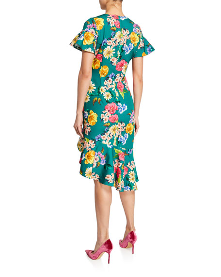 Black Halo Breelle Floral-Print Flutter-Sleeve Asymmetric Flounce Dress