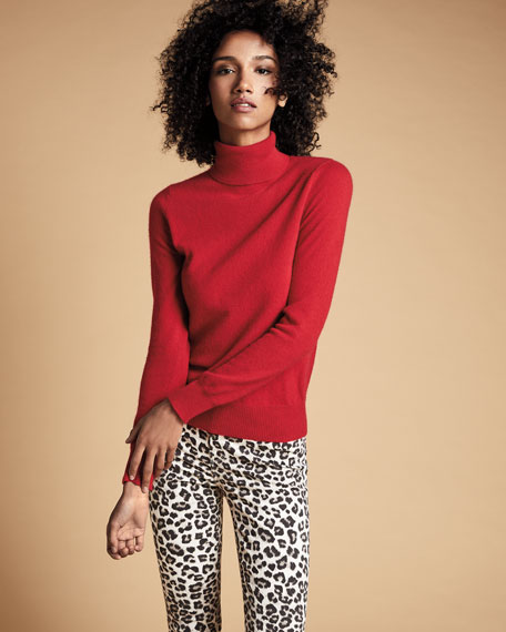 Neiman Marcus Cashmere Collection Basic Long-Sleeve Turtleneck Cashmere Sweater