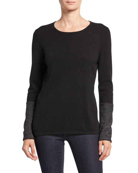 Neiman Marcus Cashmere Collection Cashmere Long-Sleeve Crewneck Sweater with Metallic Cuffs