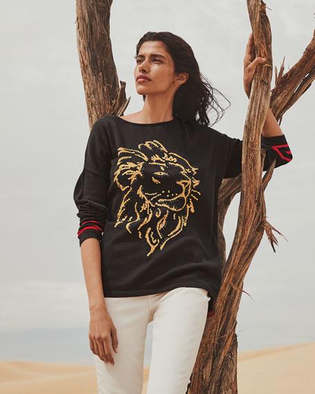 Joan Vass Sequin Lion Intarsia Scoop-Neck Sweater w/ Striped Sleeves
