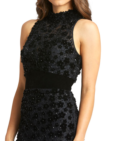 Image 3 of 3: Mac Duggal Mock-Neck Sleeveless Floral Applique Lace Gown