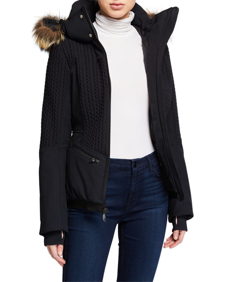 Post Card Cable-Knit Fur-Ruff Hooded Coat