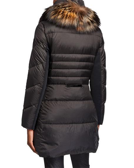 Post Card Saltoro Chevron-Puffer Coat w/ Fox Fur Trim