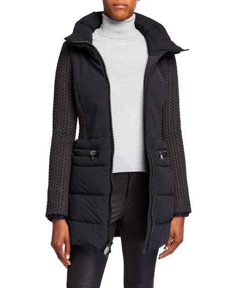 Post Card Siguan Mixed-Media Quilted-Sleeve Coat