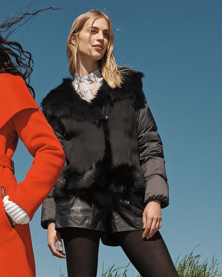 Post Card Saser Shearling-Front Puffer Coat