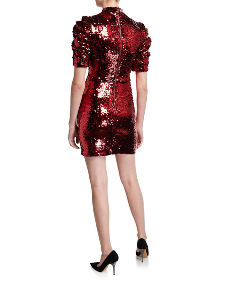 Alice + Olivia Brenna Sequin Mock-Neck Puff-Sleeve Fitted Dress