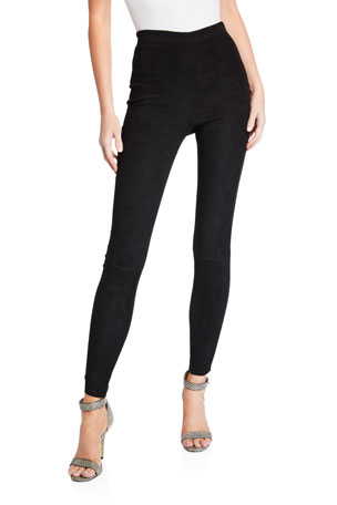 Alice + Olivia Maddox Suede High-Waist Side-Zip Leggings $795.00