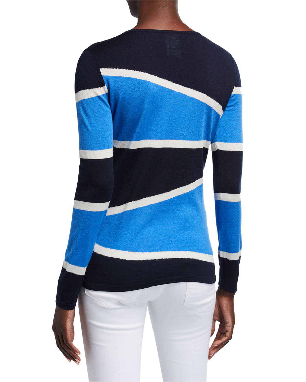 Superfine Variegated Stripe Crewneck Long Sleeve Sweater