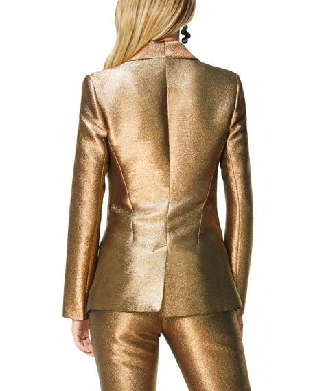 Image 3 of 4: Dahlia Metallic Shawl-Collar Jacket