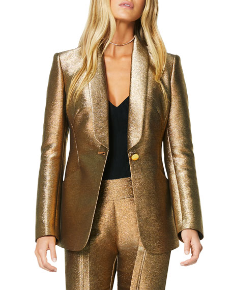 Image 1 of 4: Dahlia Metallic Shawl-Collar Jacket