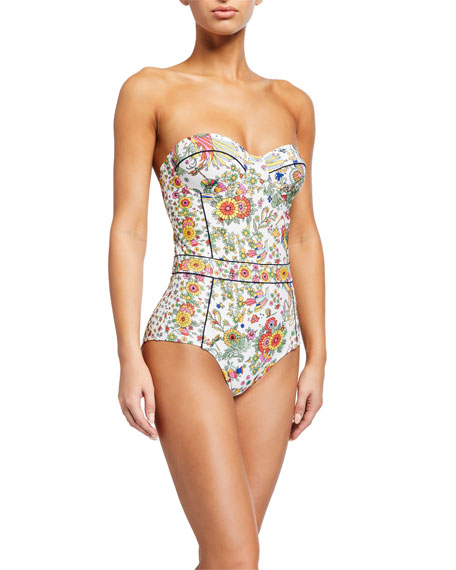 Image 1 of 3: Floral-Print Underwire One-Piece Swimsuit