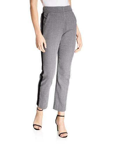 Gemini Side-Stripe Gingham Pants - Extended Sizes