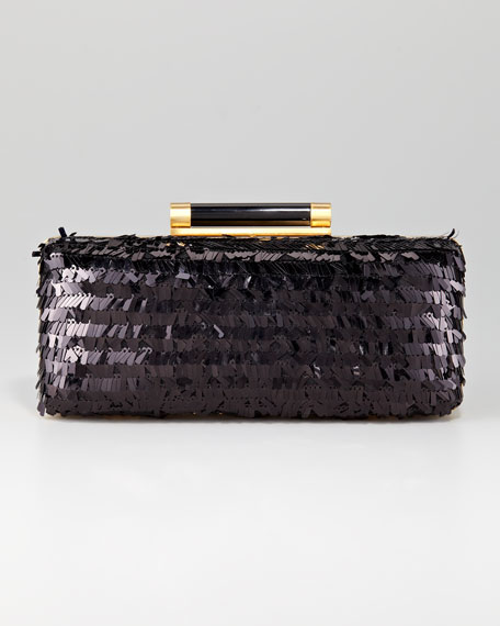 Tonda Eyelash-Sequin Clutch Bag