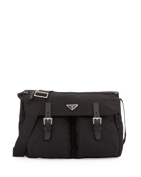 Prada Vela Buckled Messenger Bag, Black (Nero)