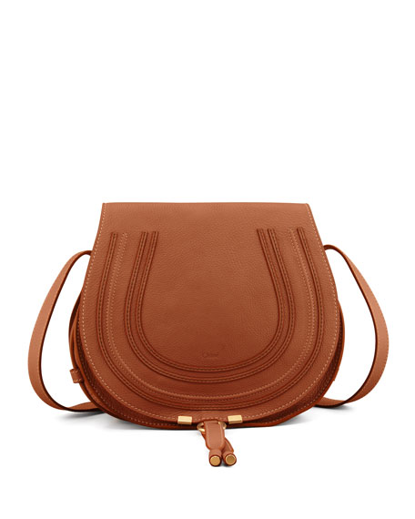 Chloe Marcie Medium Leather Crossbody Bag, Tan