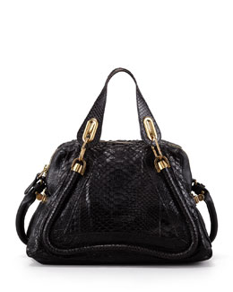Chloe Paraty Medium Python Shoulder Bag, Black